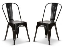 Pair of 2 Matt  Black Metal Industrial Tolix Style Dining Chairs 1/2 Price Deal